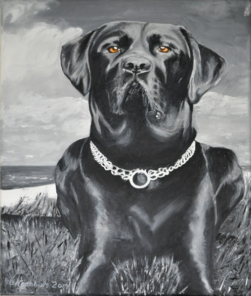 Hund am Meer, Gemälde